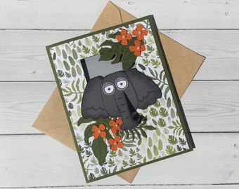 Hand Stamped Card - Stampin Up Card - Peek-a-boo Elephant Card - Playful Pals Stampin' Up! Card - Blank Card