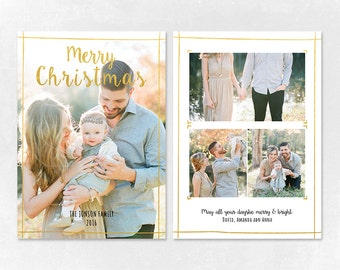 Digital Photoshop Christmas Card Template for photographers PSD Flat card - Christmas Card - PSD Template - CT002