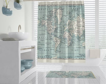 Blue and White Map Shower Curtain - travel decor world map bathroom - geography