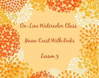 On-Line Watercolor Class 3- How to Package and -Critique Of Maine Coast With Rocks-tutorial-Art Student-Watercolors-How to paint