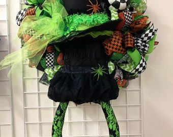 Fancy Witch Deco Mesh Wreath, Witch Deco Mesh Wreath, Witch Wreath, Halloween Wreath, Witch Attachemtn Wreath