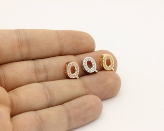 """Tiny Initial Charm, Gold, Rose Gold, Silver Tone Initial Charm, CZ Initial Charm, Cubic Zirconia """"Q"""" Initial Charm, Initial Pendant, 1 Pc"""