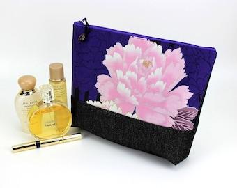 Large Travel Pouch, KImono Cosmetic Bag, Great Gift Idea, Padded Makeup Bag, Peony Purple