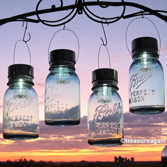 Hanging mason jar lights 4 ball mason jar solar lights hanging mason jar lights 4 ball mason jar solar lights outdoor garden decor quart aqua blue glass antique hanging lanterns gifts aloadofball Images