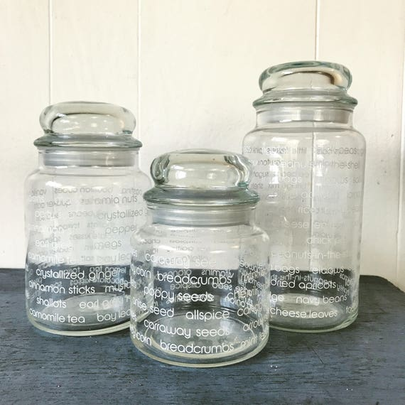 vintage glass canister jars - kitchen food storage - clear pantry jars - Set of 3