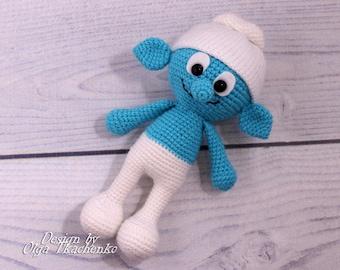Smurfs plush toy smurf amigurumi smurfs crochet smurf stuff toy smurf gift for baby stuffed toys stuffed plush toys