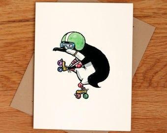 Roller Penguin, individual greeting card