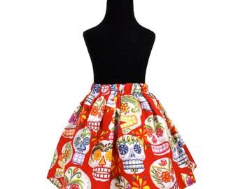 Red Sugar Skull Girl's Skirt