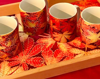 Fall Leaves Tray & Mug Set -  Red and Yellow Autumn Leaf Hostess Serving Tray - Gift for Tea Lover, Coffee Lover - Leafy Mug Set x 4