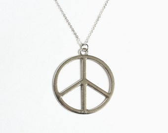 Large Peace Symbol Necklace