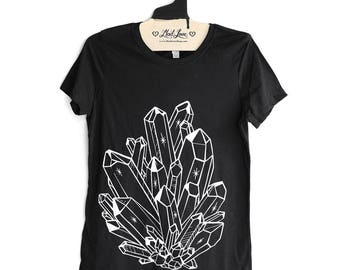 Fitted Medium - Black Crew Neck Ladies Tee with Crystal Screen Print