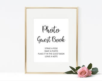 Modern photo guest book sign printable, simple guest book sign wedding printables, guestbook sign digital wedding signs W03