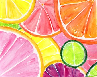 Citrus watercolor painting original 8 x 10 Tutti Frutti Grapefruit, Lemon, Orange Lime Watercolor, Citrus Artwork. Modern Kitchen  Art Decor