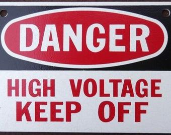 Heavy Vintage Wooden Danger High Voltage Sign