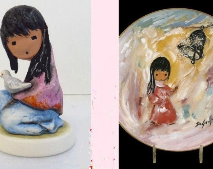"""De'Grazia Collector Set - Collector Plate """" Bell of Hope""""  Signed Limited Edition and Gobel Figurine 1988 """"Girl with Dove"""" - Original"""