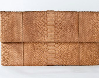 Tan - Genuine Python snakeskin Clutch / Envelope  -  Large