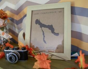 Lake Charlevoix Burlap Print Framed