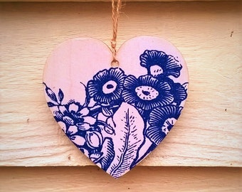 Hanging Heart, Floral Heart, Wooden Heart, Blue Floral,Decoupage Heart, Vintage Style