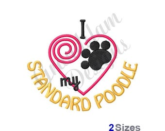 Standard Poodle - Machine Embroidery Design