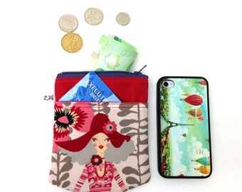 Zipper Coin Purse, Pocket Pouch, iPhone Pouch - Girl on Red