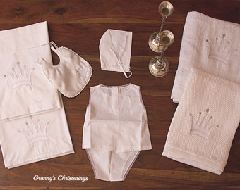 Luxury CROWN Christening Collection-Unisex Embroidered Ladopana-Embroidered Towels-Soft Cotton Blanket-Cotton Bed Sheet-Semi mat Bib