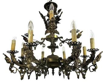 Large French Impressive 12 Arms Lights Castle Medusa Chandelier Lion Heads HTF