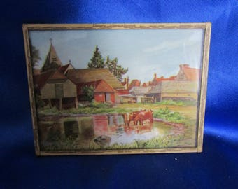 1950's Printed Farm Picture Behind Glass