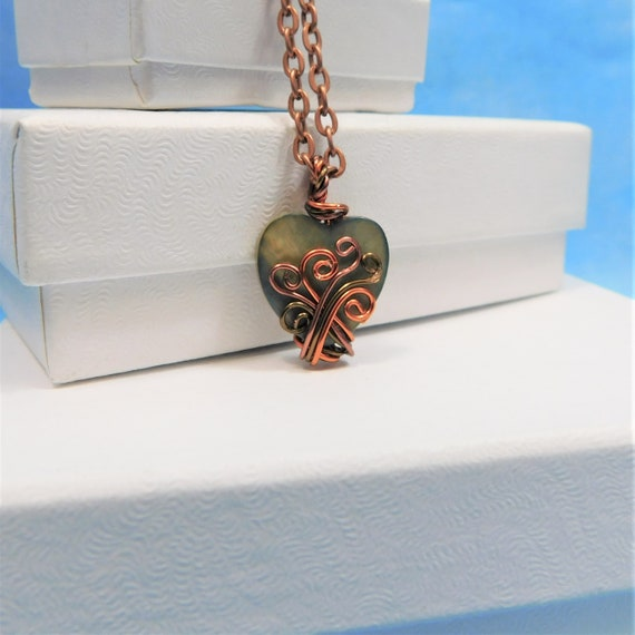 Green Heart Necklace Girlfriend Gift Copper Wrapped Pendant Artisan Crafted Unique Jewelry Artistic Handmade Wearable Art Present for Wife