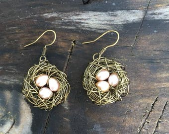 Bird's Nest Earrings - Bronze wire-wrapped with genuine pearls