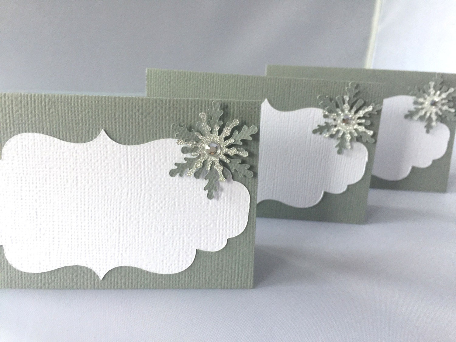 Snowflake Place Cards Winter Wonderland Food Labels Winter