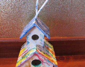HandPainted Birdhouse for indoor/outdoor Use for Gift or Home Decor