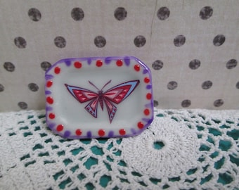 OOAK 1:12 scale Dollhouse butterfly hand decorated ceramic platter - dollhouse decor - miniature decor - butterfly platter