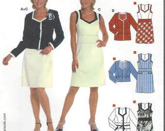 Womens Spring Dress and Jacket in 2 Lengths Princess Seams Trim Detail Burda Sewing Pattern 8062 Size 10 12 14 16 18 20 Bust 32 1/2 to 42 FF