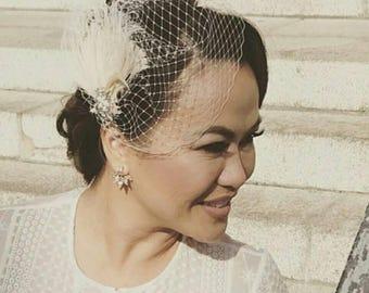 Wedding Hair Clip, Bridal Fascinator,French Net Bridal Veil,Wedding Fascinator, Feather Hair Clip, Ivory Wedding Fascinator, 2 pc set