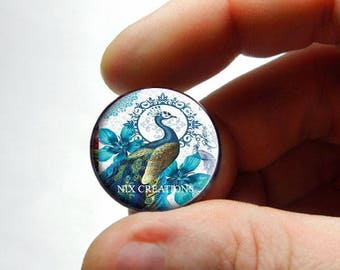 Glass Peacock Cabochon - P2 - for Jewelry and Pendant Making