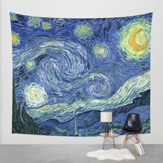 Van gogh nuit toil e tissu tapisserie tenture murale boho for Decoration murale nuit etoilee