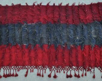 Vintage Filikli Tulu with tassels, Turkish Angora Tulu Wallhanging - 3'4 x 5'11 - 112 x 180 cm. Free shipping!