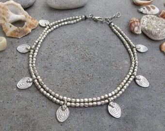 Beaded Silver Anklet, Silver Ankle Bracelet, Silver Anklet, Boho Anklet, Ankle Bracelet, Gypsy Jewelry, Anklet