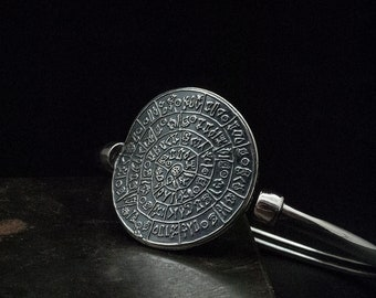 Greek Cuff Bracelet, Phaistos Disc Sterling Silver Statement Bracelet, Ancient Minoan Bangle, Greek Mystery, Wearable Art, Greek Jewelry