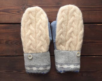 Felted Wool Mittens, Recycled from Sweaters, size Medium