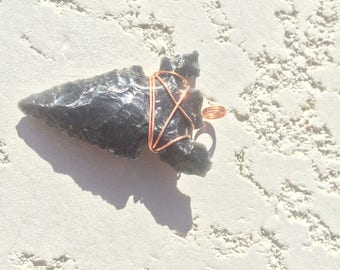 Black obsidian arrowhead necklace pendant