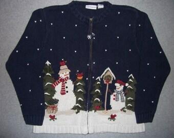 For The Birds Snowmen Snow Snowman Sweater Winter Wonderland Tacky Gaudy Ugly Christmas Party X-Mas Warm M Medium