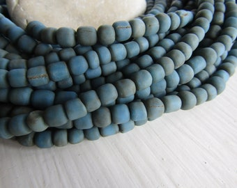 small matte blue  glass seed bead, opaque gritty rustic, irregular barrel tube spacer, New Indo-pacific 3 to 6mm / 22 inch strand 7ab29-37