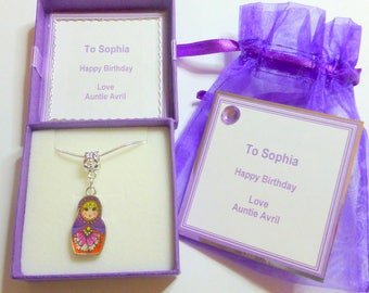 Russian Doll Babushka Matryoshka Double Sided Enamel Pendant Necklace Personalised Gift Box