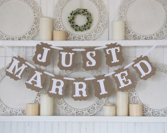 JUST MARRIED Wedding Banner,  Just Married Sign, Wedding Decoration, Wedding Get Away Car, Wedding Photos, Vintage Wedding