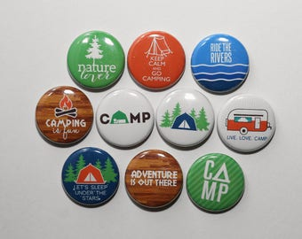 Camping Set of 10 Buttons Pinbacks Badges 1 inch - Flatbacks or Magnets