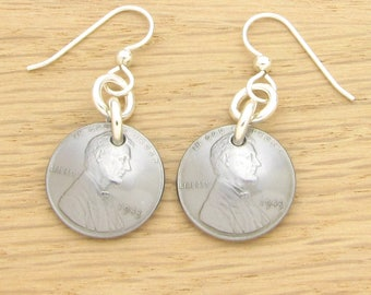 For 75th: 1943 Steel US Penny Earrings 75th Birthday Gift Coin Jewelry