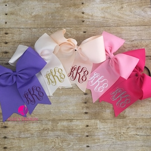 MONOGRAMMED BOW W/HAIRTIE - Personalized Bow - 2 For 6