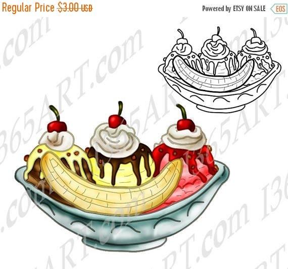 50 OFF Ice Cream Sundae Clipart Dessert Illustration Party Invitation Coloring Page Digital Stamp Scrapbooking JP