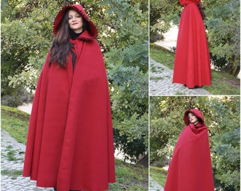 Medieval full long cloak , red  cloak , red riding hood  , gothic,  free size ready to ship